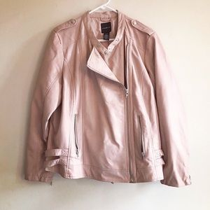Faux Leather Moto Jacket, Blush